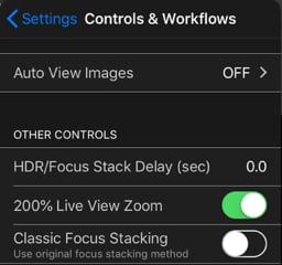 controls workflows settings