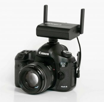 CamRanger 2 mounted on camera hot shoe