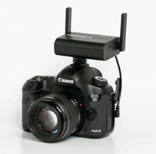CamRanger 2 mounted on camera hot shoe