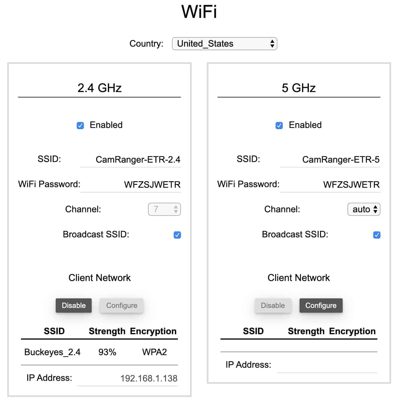 CamRanger WiFi Tab
