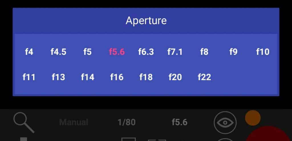 Android App Aperture Values