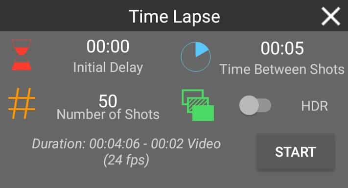 Android Time Lapse Intervalometer