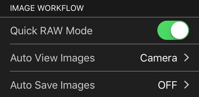 Image Workflow Settings