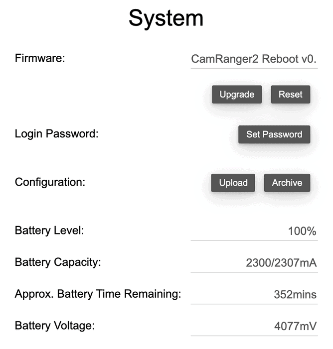CamRanger 2 System Tab