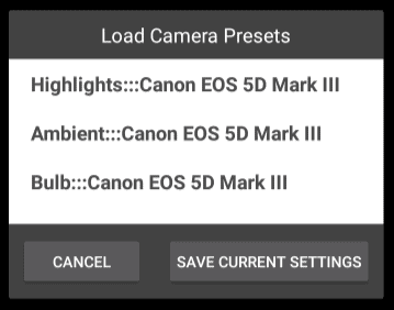Example CamRanger Android Presets