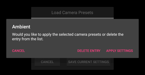 Setting CamRanger Android Presets