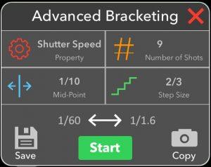 HDR Advanced Bracketing Tab