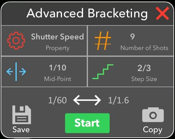 Advanced Bracketing Tab
