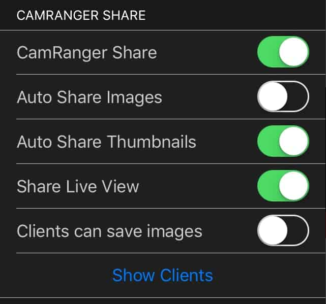 CamRanger Share Settings