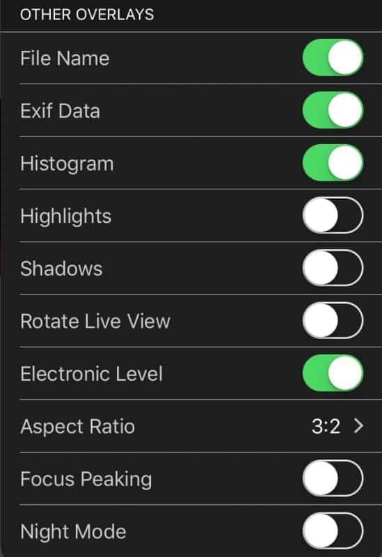 CamRanger iOS Other Overlays