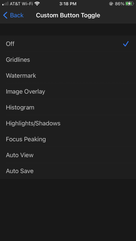 Custom toggle button options